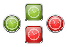 Buttons with clock sign icons Stock Photos