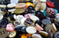 Buttons for clothing. Various sized and colors of used buttons for clothing Royalty Free Stock Photos