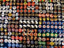 Buttons!. Collage of rock and roll music icon pins in Dublin, Ireland stock image