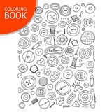 Buttons collection sketch. Page for your coloring book Royalty Free Stock Images