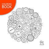 Buttons collection sketch. Page for your coloring book Stock Images