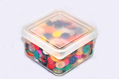 Buttons Colorful in Plastic Box Royalty Free Stock Images
