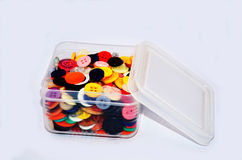 Buttons Colorful in Plastic Box Stock Photos