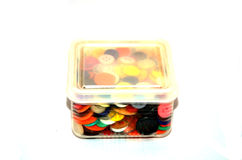 Buttons Colorful in Plastic Box Stock Images