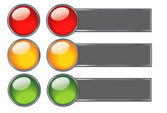 Buttons with colours of traffic light for web desi Stock Image