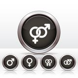 Male and  female symbols. Buttons with combinations of male and  female symbols. Vector illustrations Stock Image