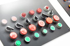 Buttons for control panels for electrical. Equipment stock photos