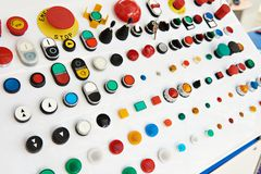 Buttons for control panels for electrical royalty free stock photos
