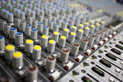 Buttons control sound mixer. Close up buttons control sound mixer Stock Image