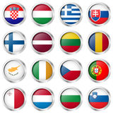 Buttons with country flags Stock Photos
