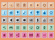 Buttons for creating 2d game. Game interface buttons set, for app icons contains different colours, buttons sets for creating 2d game Stock Photos