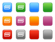 Buttons with credit card icon. Vector web icons, color square buttons series Royalty Free Stock Image