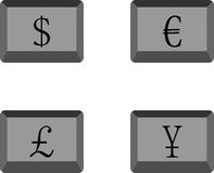 Buttons currency. Euro and dollar, yen and pound, web digital collection, money finance, investment economy, business banking, exchange financial, vector Stock Image
