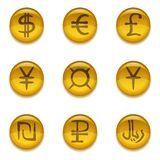 Buttons with currency signs, set. Golden money buttons icons with currency signs, set Stock Image