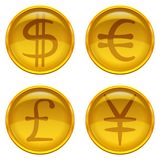 Buttons with currency signs, set. Golden money buttons icons with currency signs, set: dollar, euro, pound, yen. Vector eps10, contains transparencies Stock Image