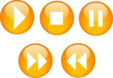 buttons den cd orange spelare Fotografering för Bildbyråer