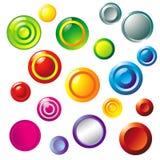 buttons den färgrika vektorn Arkivbilder