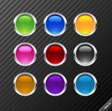 buttons den glansiga rounden Royaltyfria Foton