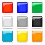 buttons den glansiga set fyrkanten Royaltyfri Bild
