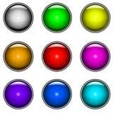buttons den glansiga setvektorn Royaltyfria Foton