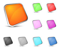 buttons den glansiga vektorn Royaltyfria Bilder
