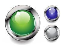 buttons den glansiga vektorn Arkivbild