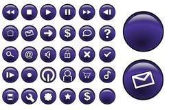 buttons den glass purplen Royaltyfria Bilder