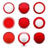 buttons den röda rounden stock illustrationer