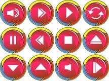 buttons den röda rounden för multimedior vektor illustrationer