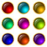 buttons den runda seten för gems Vektor Illustrationer