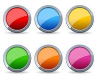 buttons den runda seten för glansig metall stock illustrationer