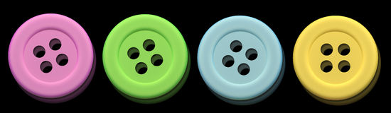 Buttons. Design in 3d of some buttons of different colors on a black background Stock Images