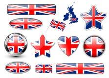 buttons det england flaggakungariket förenat stock illustrationer