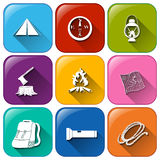 Buttons with the different camping materials Stock Photos
