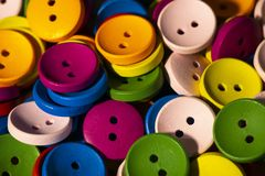 Buttons of different colors. Close-up, buttons of different colors stock photos