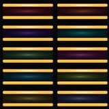 Buttons of different colors in metal frames. Vector Royalty Free Illustration