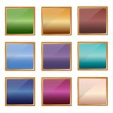 Buttons of different colors in metal frames. Vector Stock Illustration