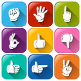 Buttons with different hand signs Stock Image
