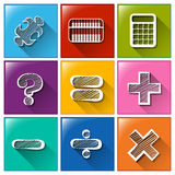 Buttons with the different mathematical operations. Illustration of the buttons with the different mathematical operations on a white background Stock Images