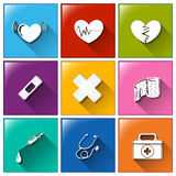 Buttons with the different medical materials Royalty Free Stock Photography