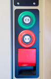 Buttons for different purposes on the door  modern train Royalty Free Stock Photos
