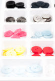 Buttons of different size, shape and color isolated on white Stock Images