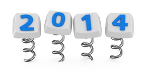 Buttons with 2014. Buttons with digits 2014 jumping on springs Stock Photography
