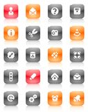 buttons diverse orange red Arkivfoto