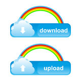 Buttons download and upload. Cloud buttons download and upload with rainbow Stock Illustration
