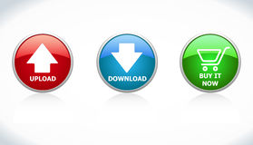 Buttons Download, Upload, Buy it Now Stock Image