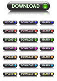 Buttons download, upload and searchfor website Stock Photography