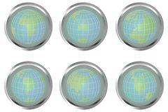 Buttons with Earth globes Stock Photos