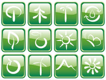 Buttons with ecological symbols. Green buttons with ecological symbols Royalty Free Stock Images