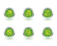 buttons ekologi Arkivbilder